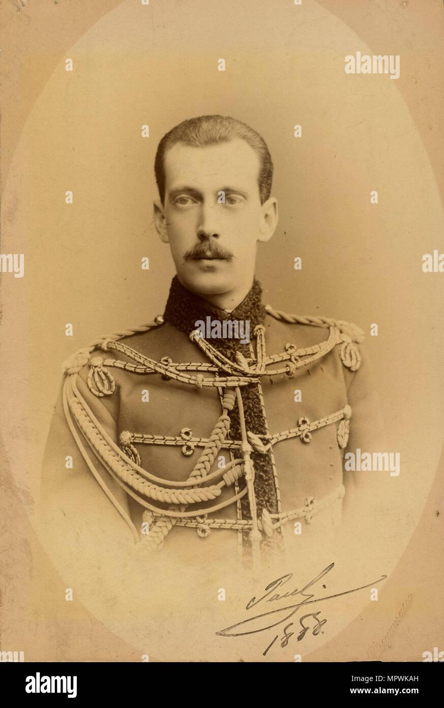 Portrait of Grand Duke Paul Alexandrovich of Russia (1860-1919), 1888. - Stock Image