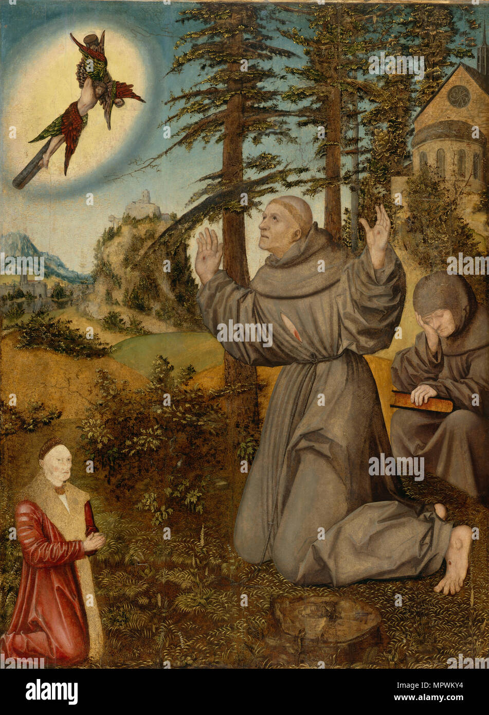 Stigmatization of Saint Francis, ca 1510-1515. - Stock Image