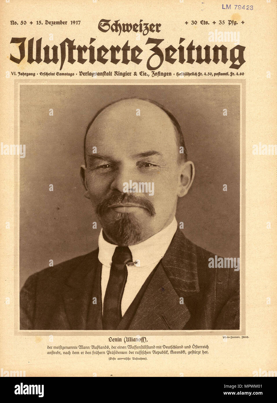 The Schweizer Illustrierte Zeitung with Lenin on the title page of 15 December 1917, 1917. - Stock Image
