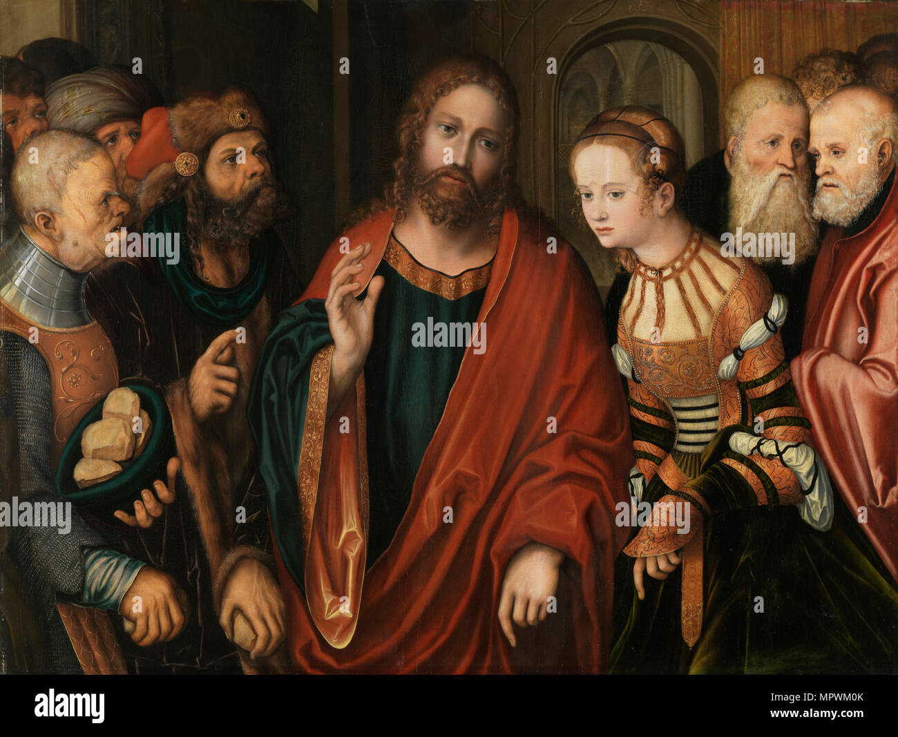 Christ and the Woman Taken in Adultery, c. 1520. - Stock Image