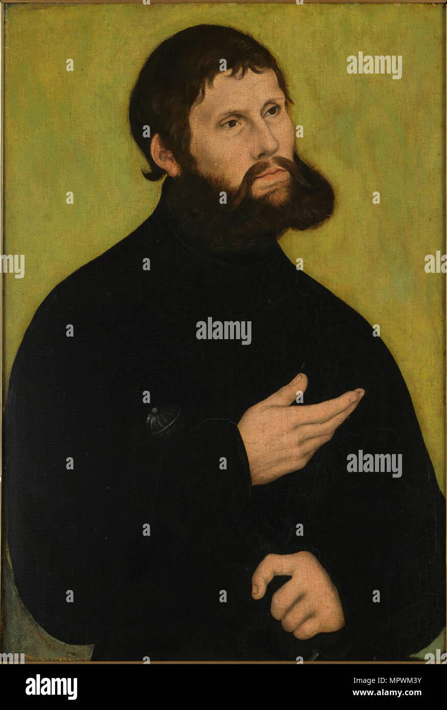 Portrait of Luther (1483-1546) as Junker Jörg, ca 1521. - Stock Image