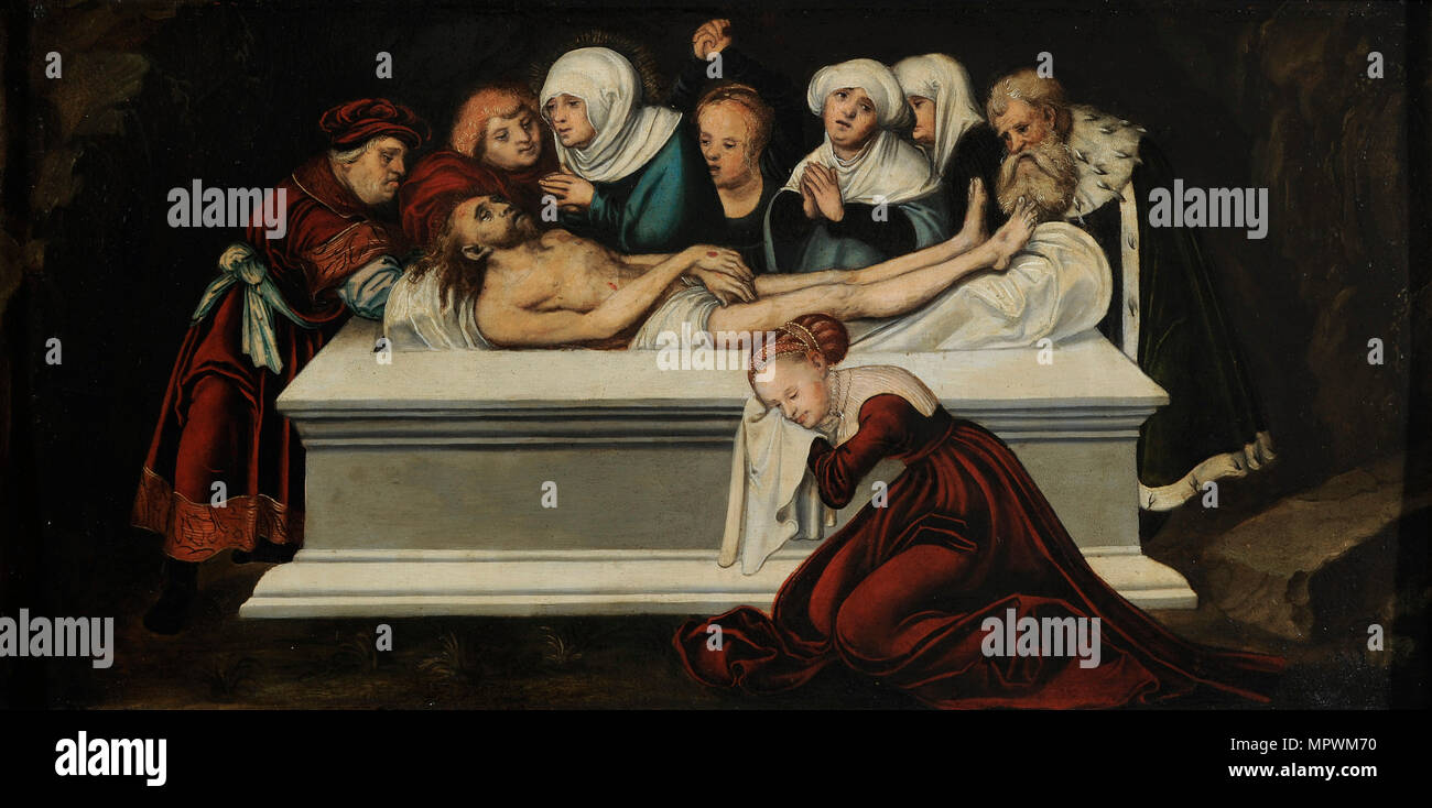 The Entombment of Christ, ca 1538. - Stock Image