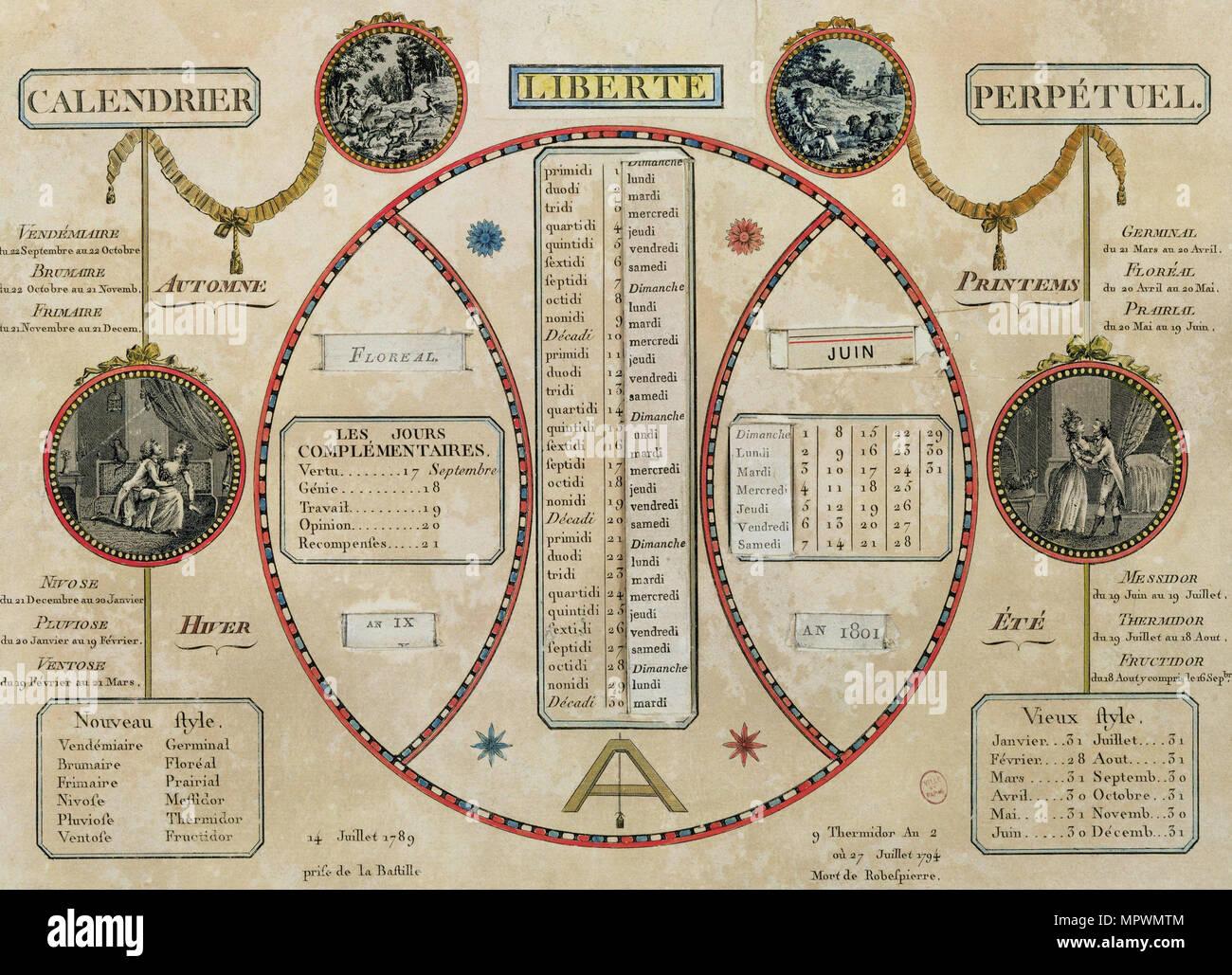 French Revolutionary Calendar 1801 Stock Photo 186191284 Alamy