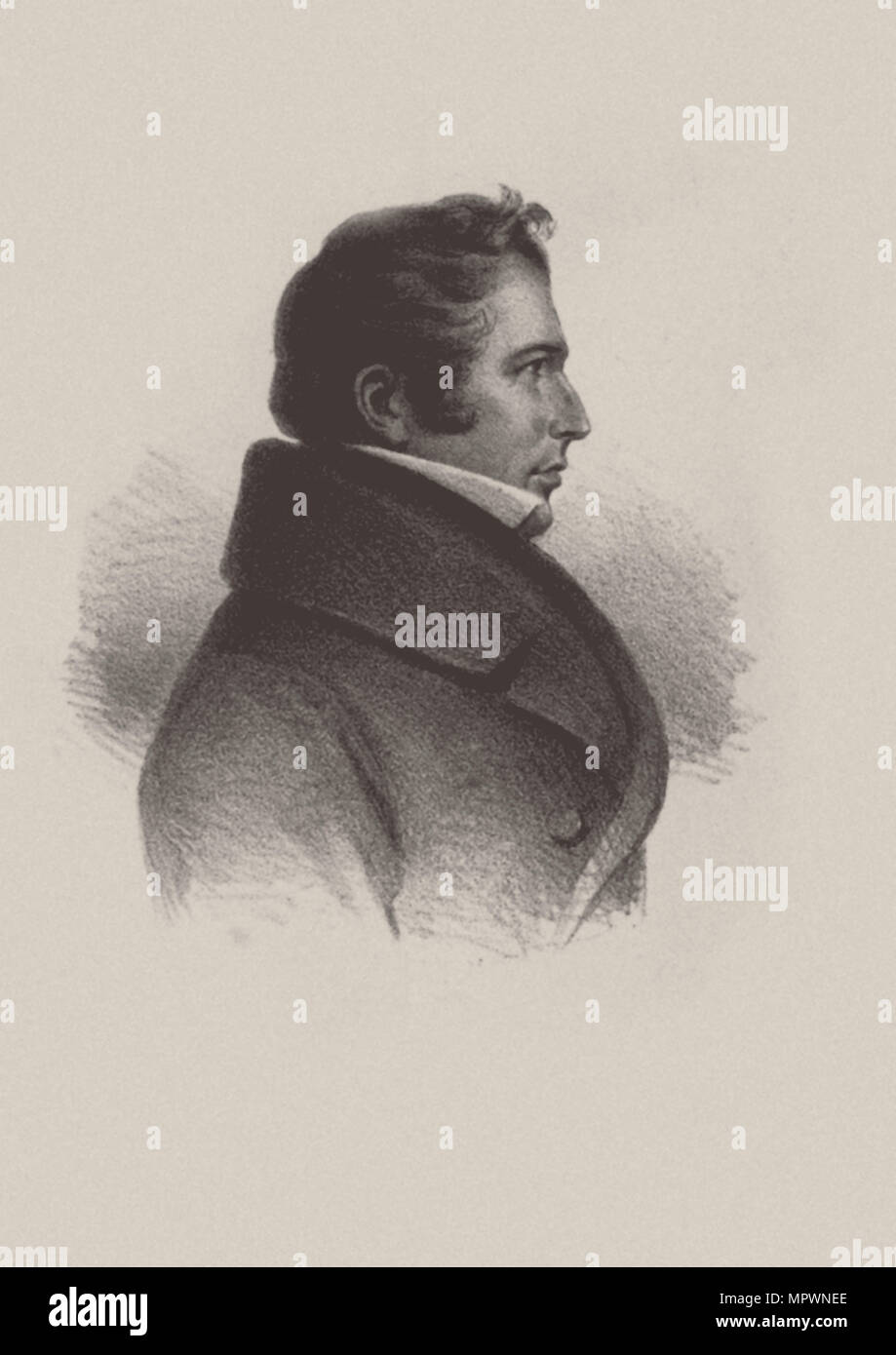Portrait of the opera singer Heinrich Blume (1788-1856). - Stock Image
