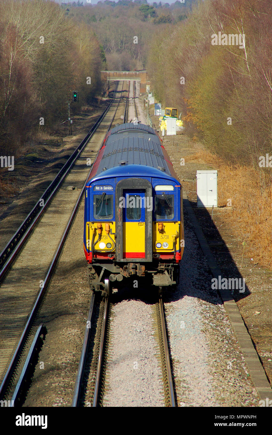 South West Trains SWT railway owned by Stagecoach, operator of the South Western Railway franchise 1996 to 2017. British Rail Class 455 is an emu - Stock Image
