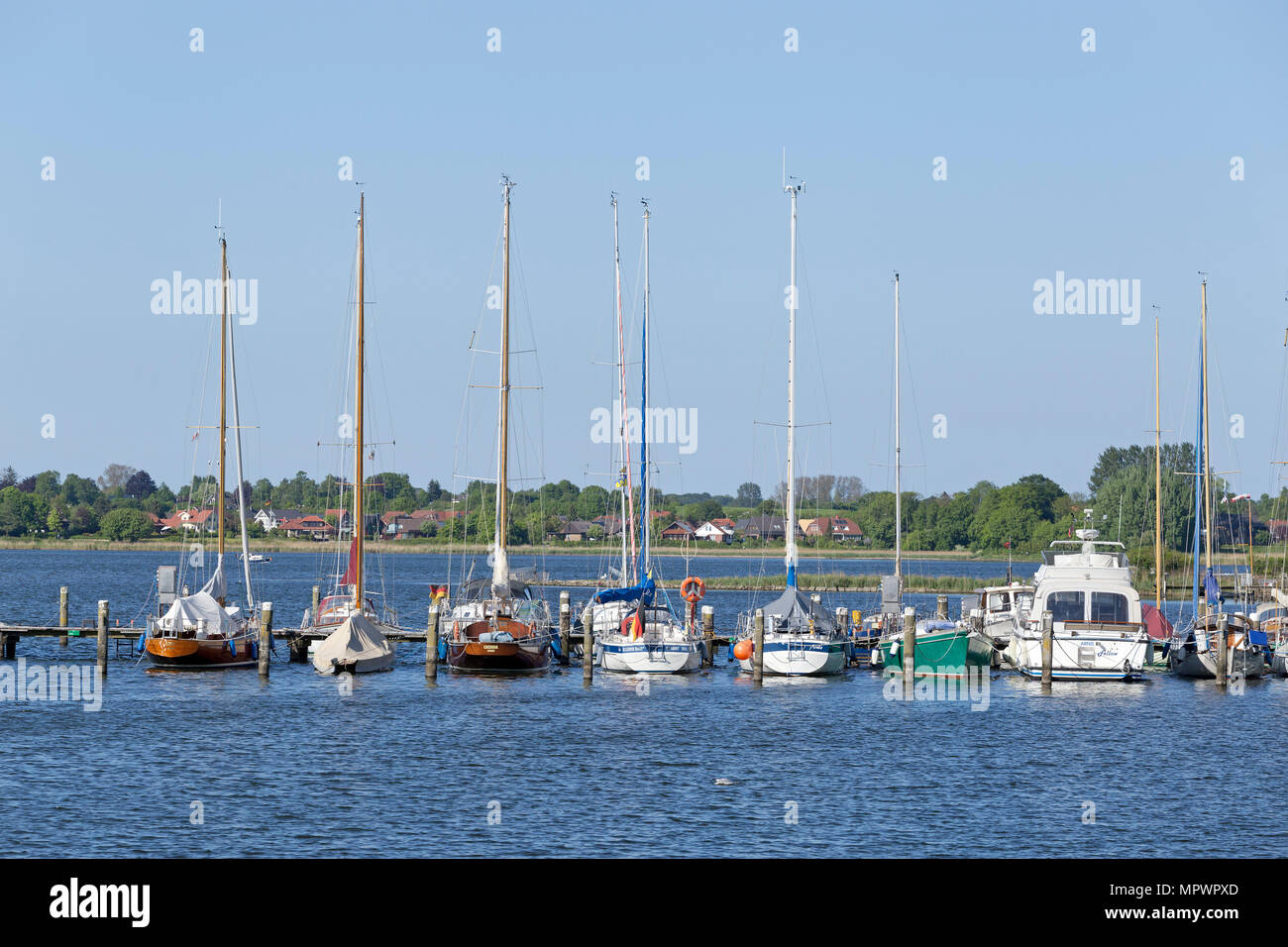 marina, Arnis, Schlei, Schleswig-Holstein, Germany - Stock Image
