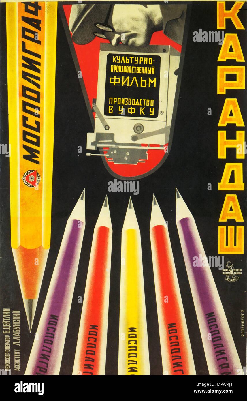 Movie poster Mospoligraf Pencils , 1928. - Stock Image