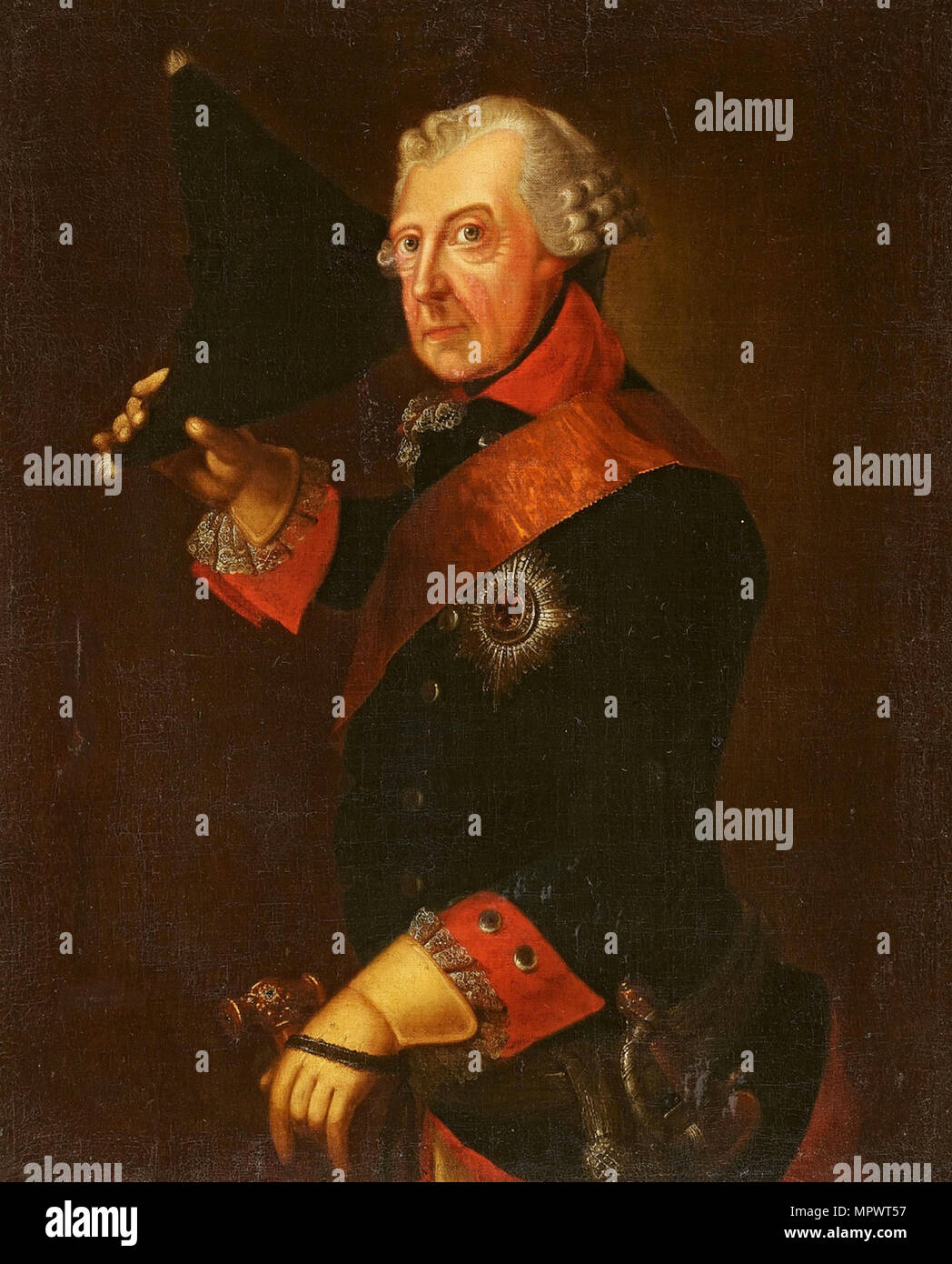 Portrait of Frederick II of Prussia (1712-1786), . - Stock Image