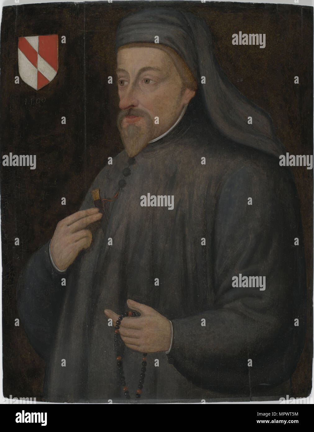 Portrait of Geoffrey Chaucer, Early 17th cen.. Stock Photo