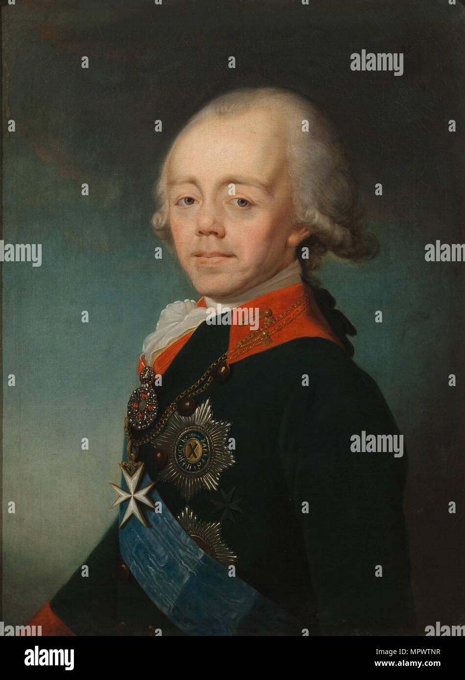 Portrait of the Emperor Paul I of Russia (1754-1801), Early 1790s. - Stock Image