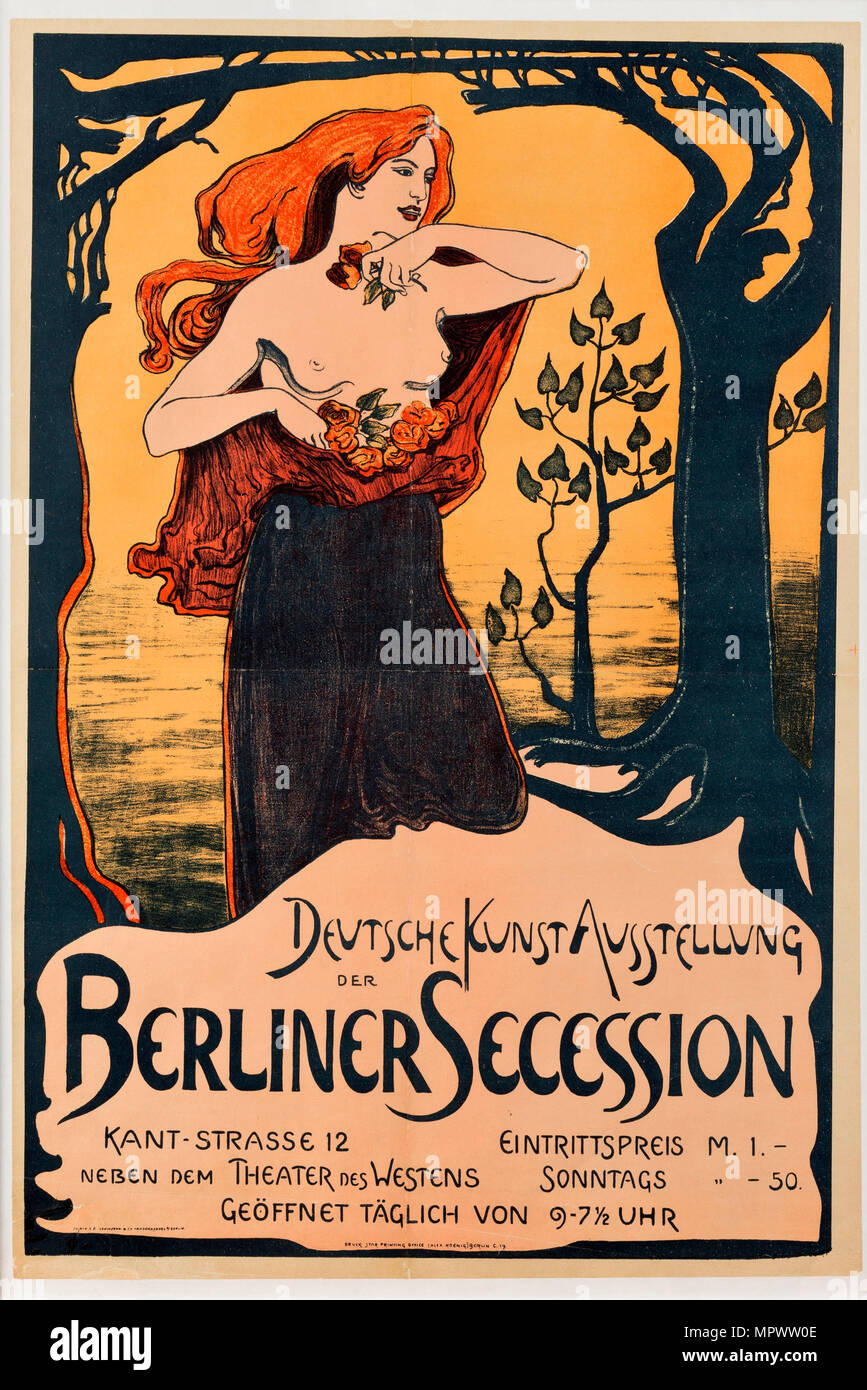 Poster for the Berlin Secession Exhibition, 1899. - Stock Image