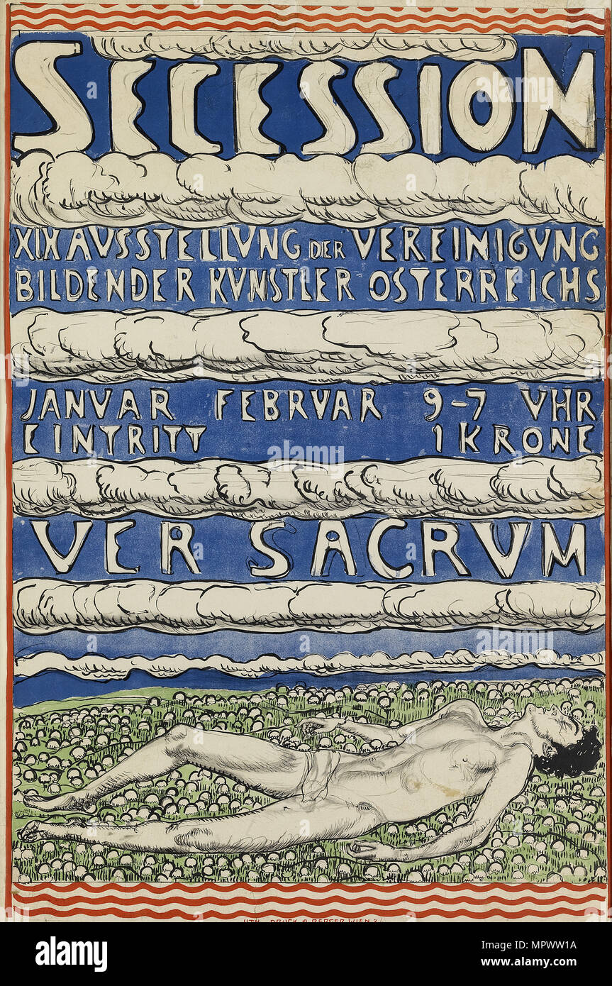 Poster for the Vienna Secession Exhibition, 1904. - Stock Image