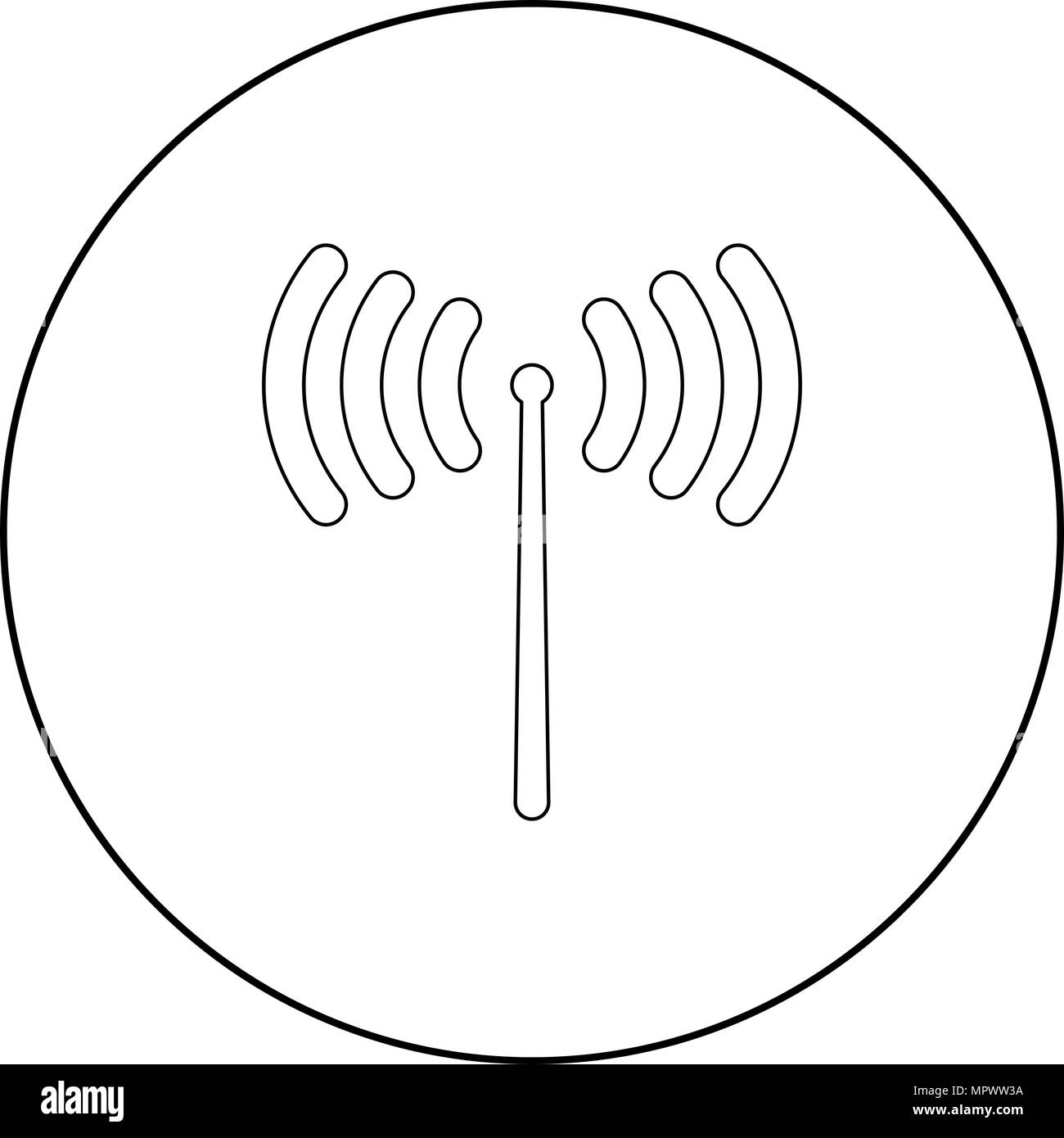 Radio signal  icon black color in circle or round vector illustration - Stock Image