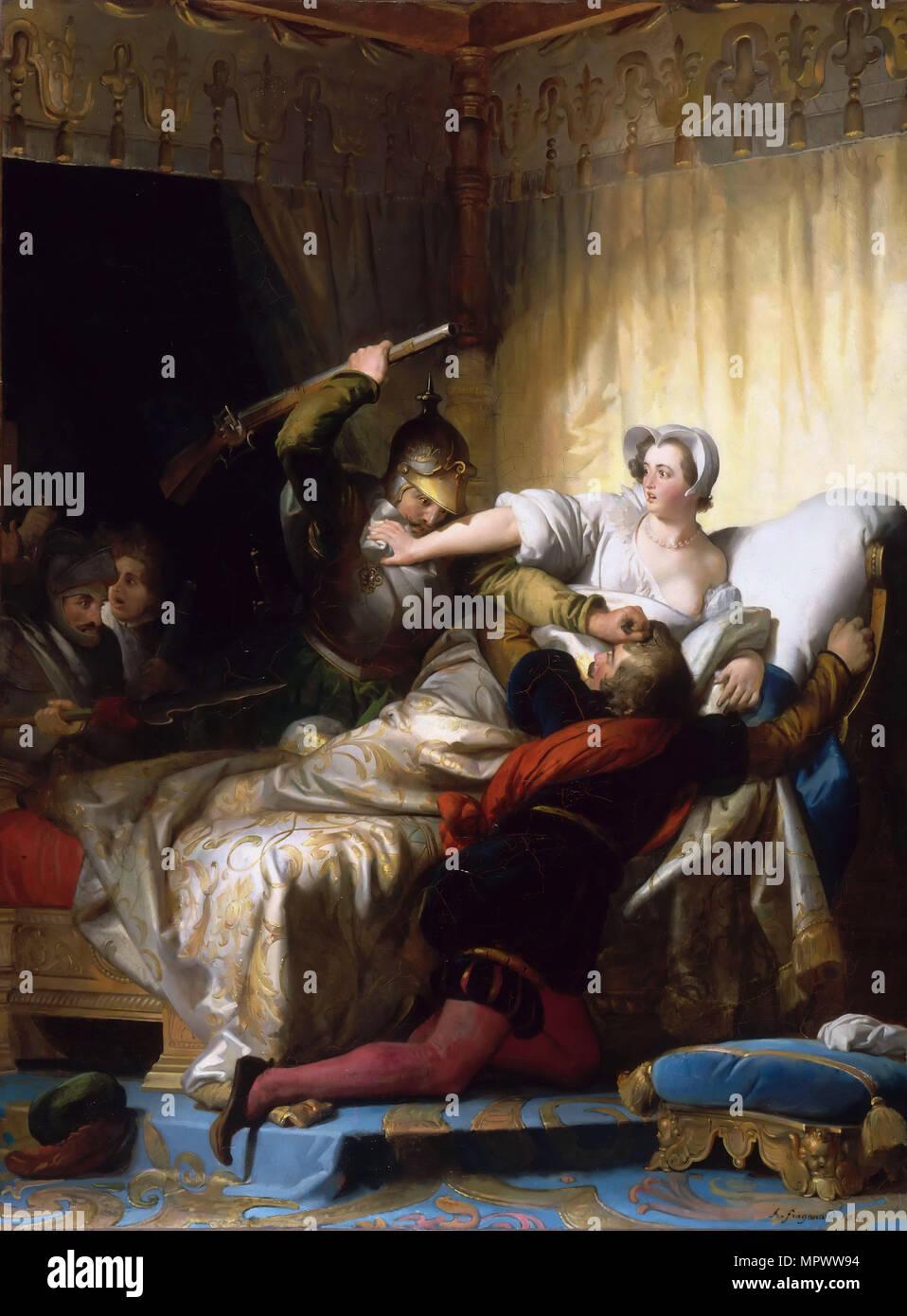 Scene in the bedroom of Marguerite de Valois during the St. Bartholomew's Day massacre, 1836. Stock Photo