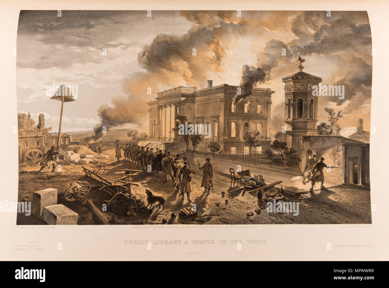The burning of the Public Library and the Tower of the Winds in Sevastopol, 1855-1856. - Stock Image