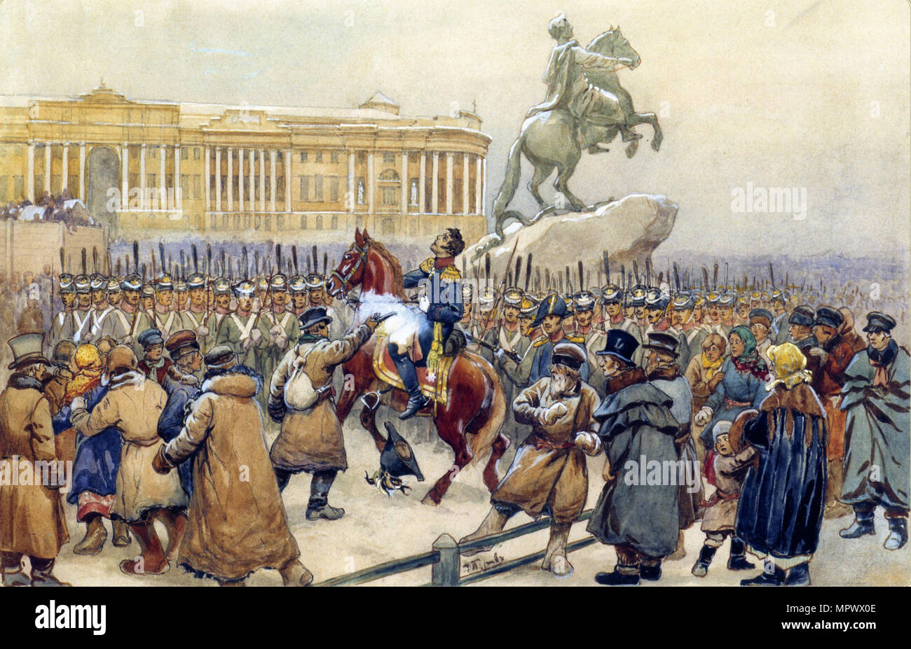 The Decembrist revolt at the Senate Square on December 14, 1825, 1870s.