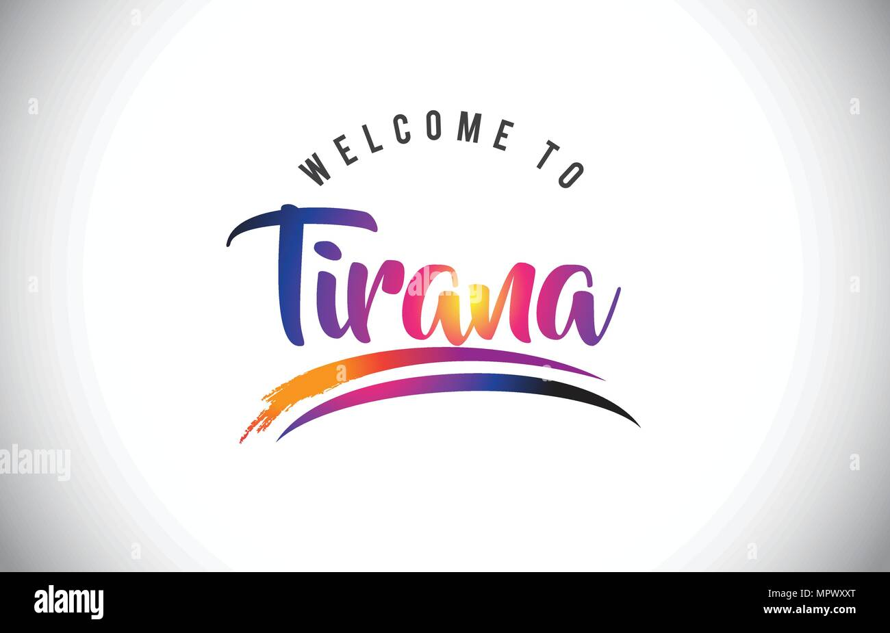 Tirana Welcome To Message in Purple Vibrant Modern Colors Vector Illustration. - Stock Vector