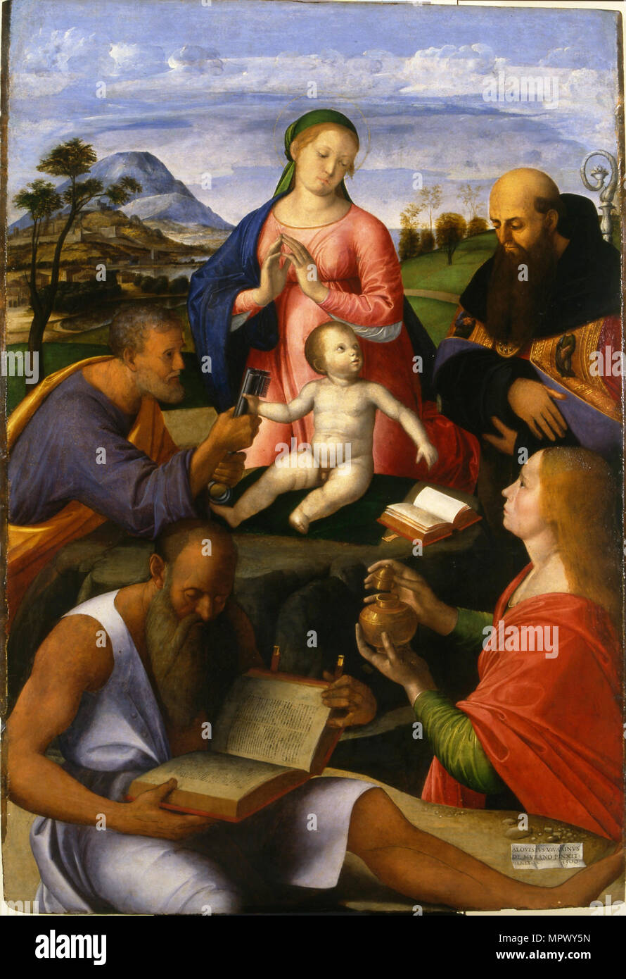 The Virgin and Child with Saints  , 1500. - Stock Image