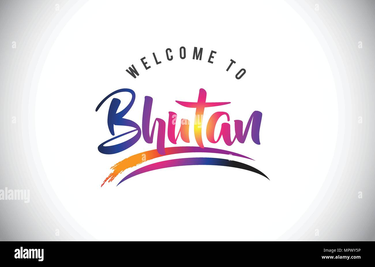 Bhutan Welcome To Message in Purple Vibrant Modern Colors Vector Illustration. - Stock Vector