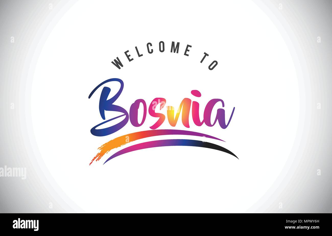 Bosnia Welcome To Message in Purple Vibrant Modern Colors Vector Illustration. - Stock Vector