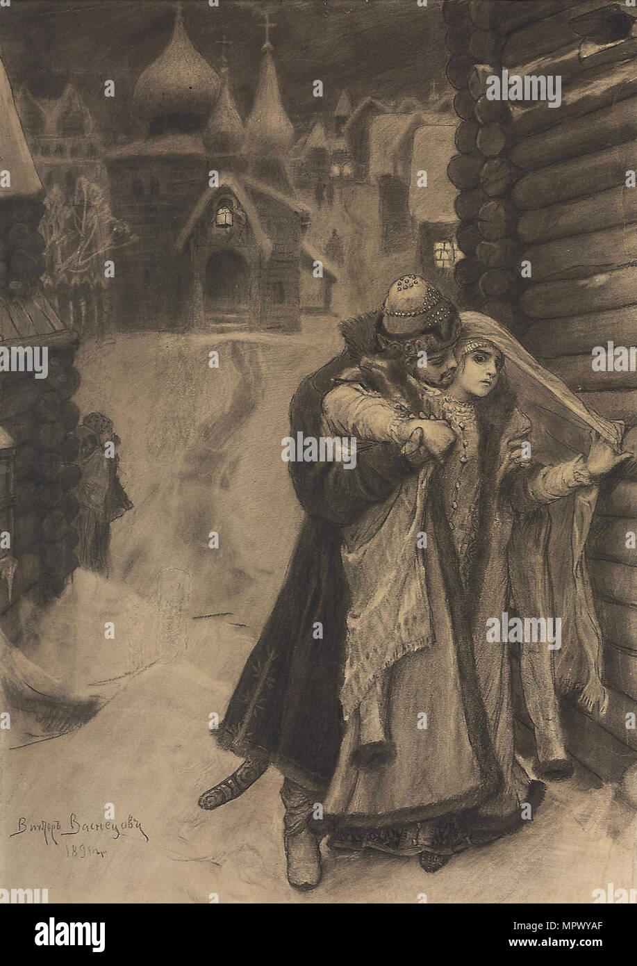 Illustration to the poem The Song of the Merchant Kalashnikov by M. Lermontov, 1891. - Stock Image