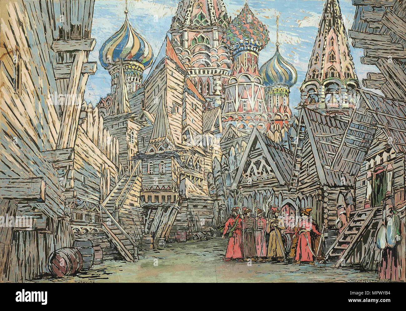 Stage design for the opera Khovanshchina by M. Musorgsky. - Stock Image
