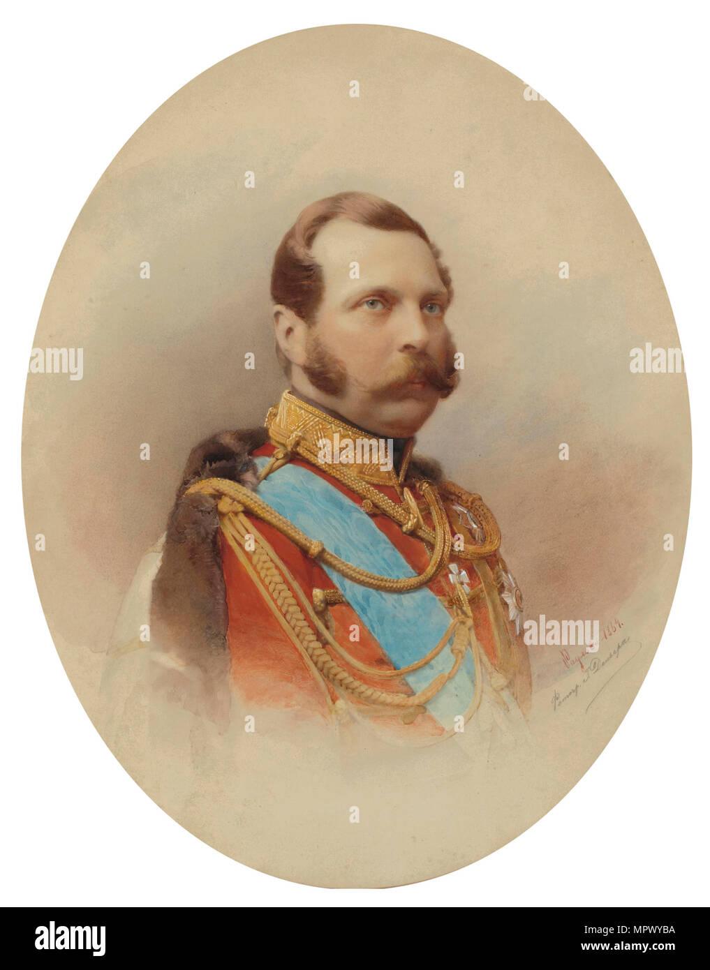 Portrait of Emperor Alexander II (1818-1881), 1864. - Stock Image