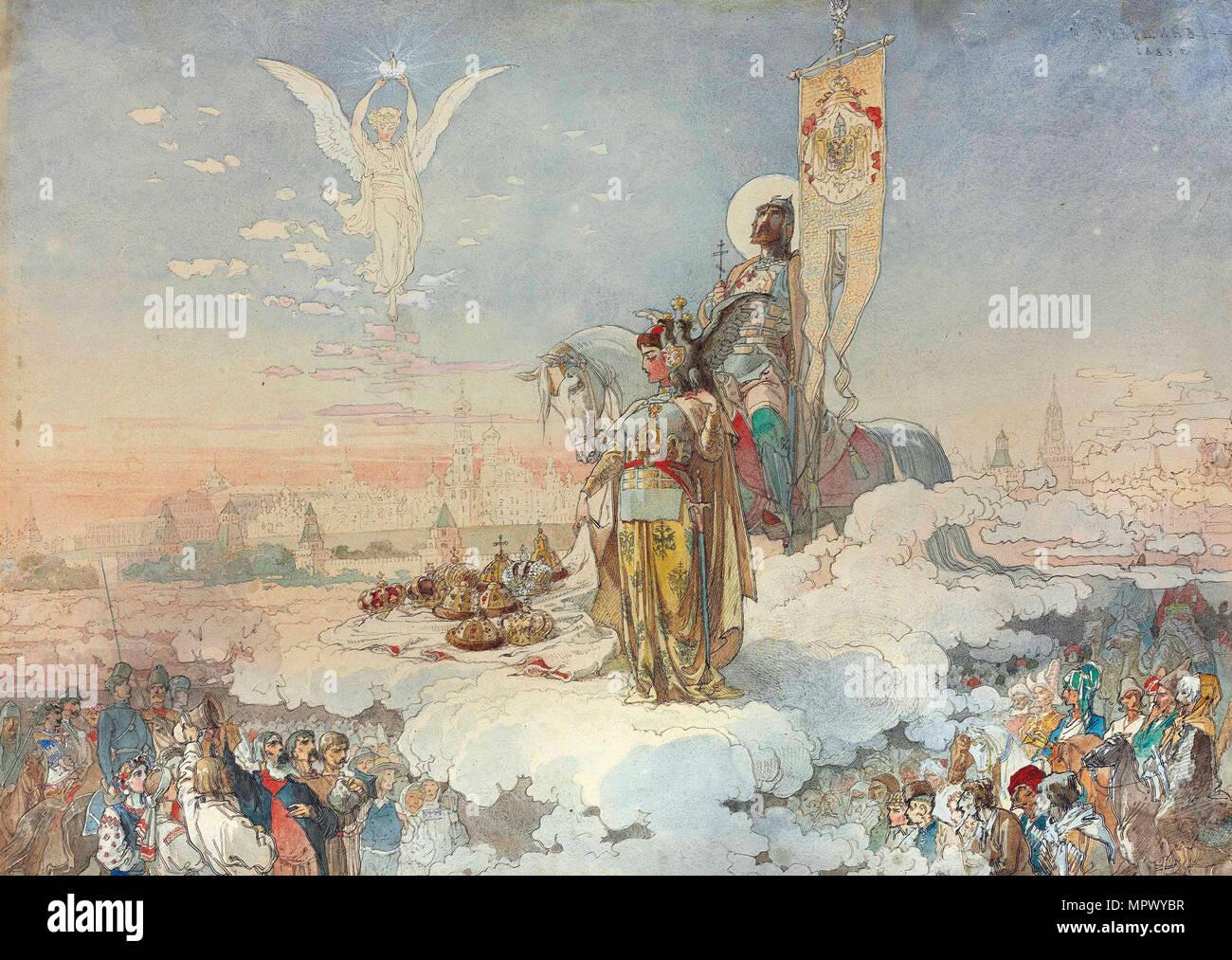 The coronation of Alexander III, 1883. - Stock Image