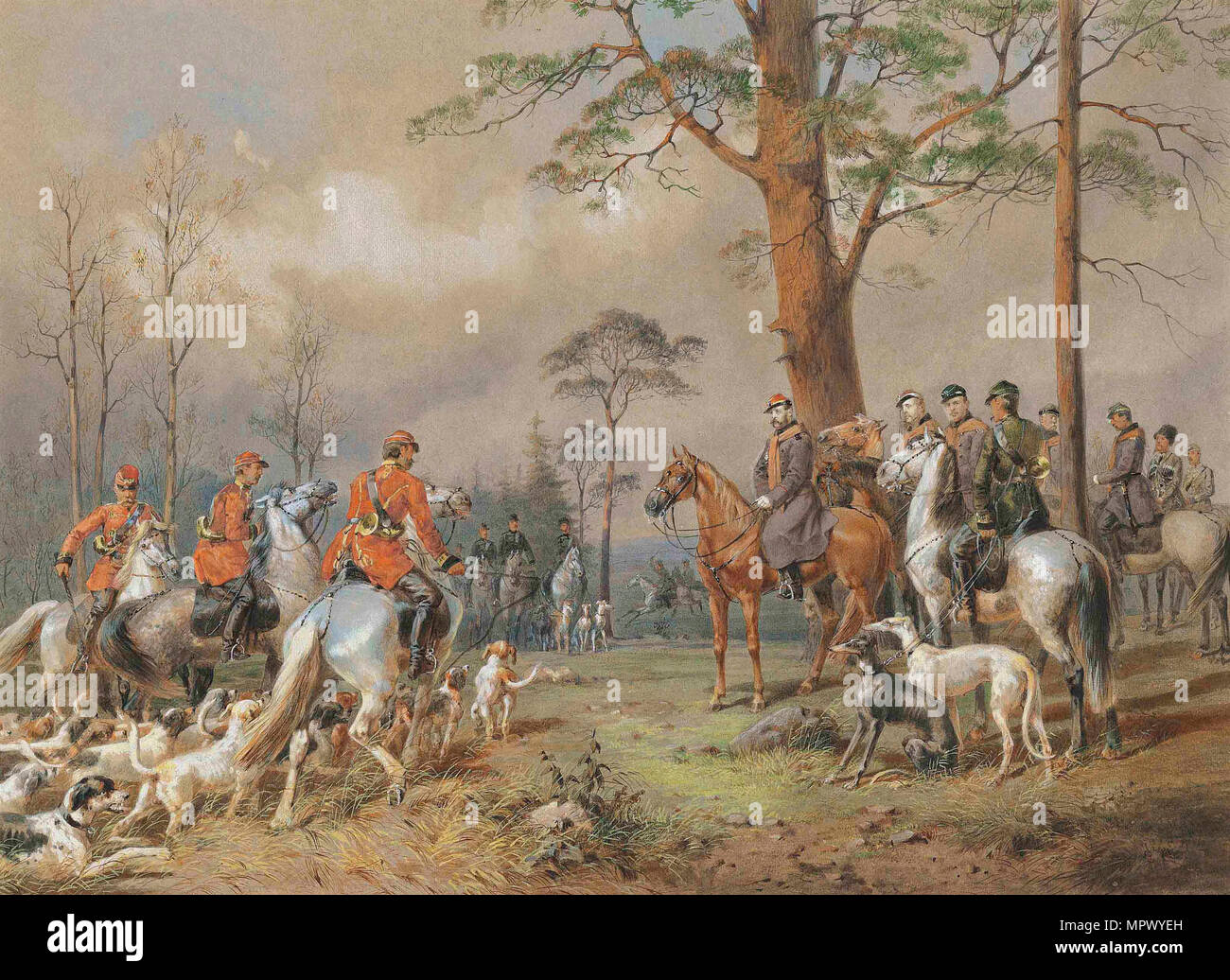 The hunting party of Emperor Alexander II. - Stock Image