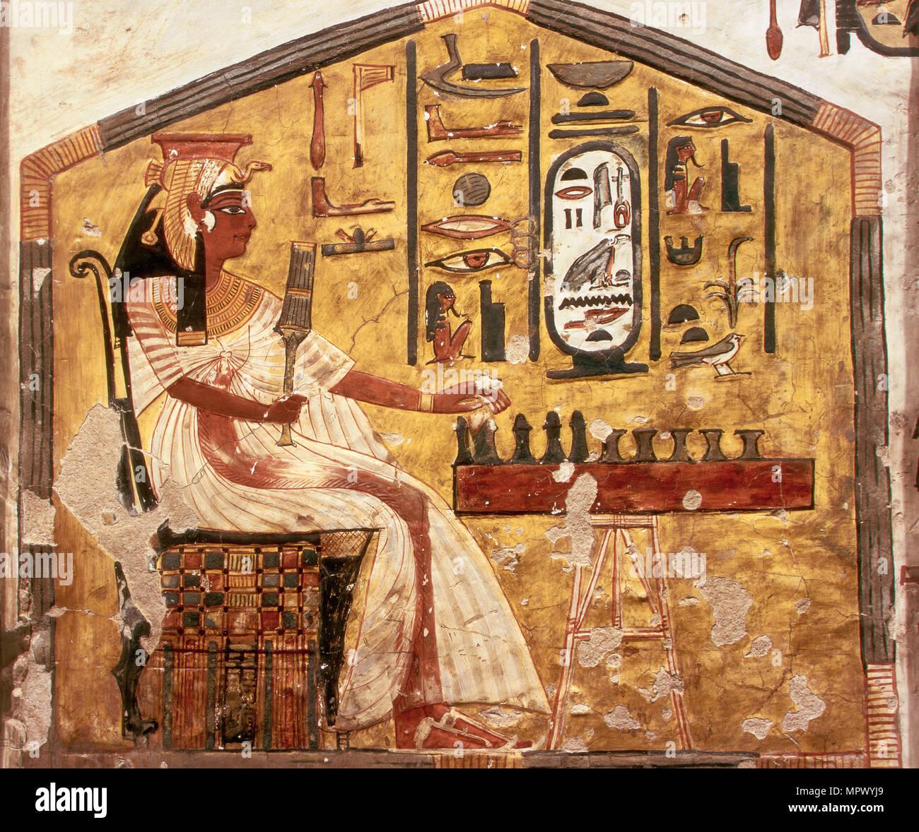 Queen Nefertari Playing Senet. The tomb of Nefertari, the Wife of Pharaoh Ramesses II, ca 1298-1235 - Stock Image
