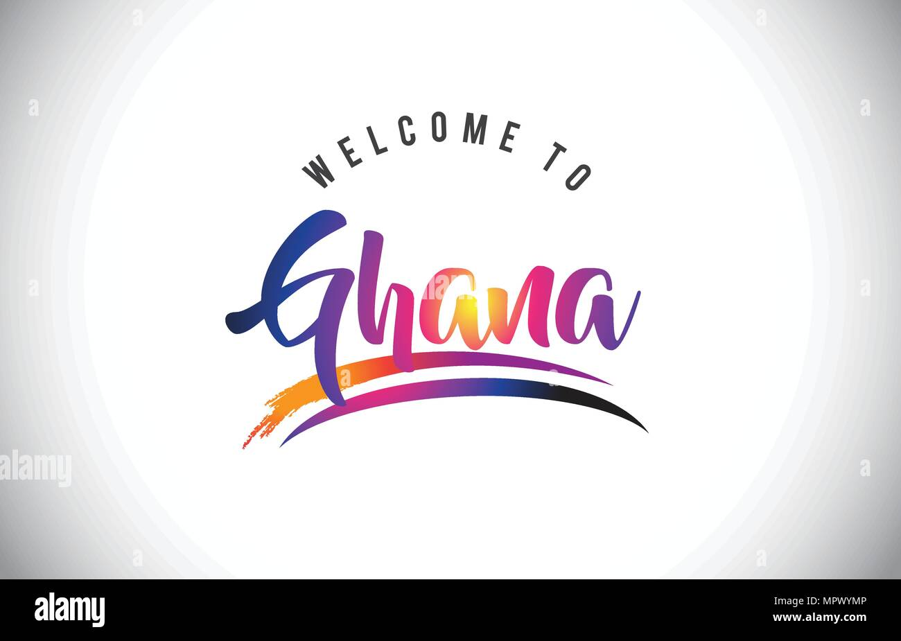 Ghana Welcome To Message in Purple Vibrant Modern Colors Vector Illustration. - Stock Vector