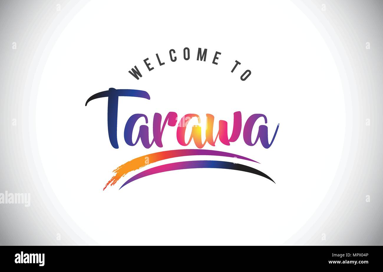 Tarawa Welcome To Message in Purple Vibrant Modern Colors Vector Illustration. - Stock Image
