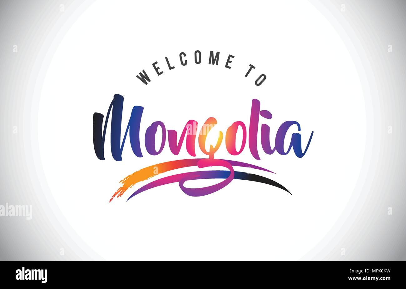 Mongolia Welcome To Message in Purple Vibrant Modern Colors Vector Illustration. - Stock Vector