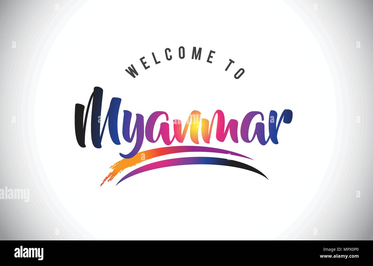 Myanmar Welcome To Message in Purple Vibrant Modern Colors Vector Illustration. - Stock Vector