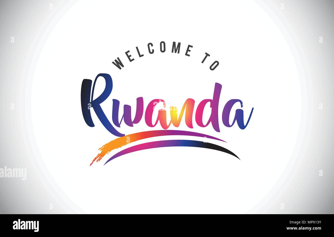 Rwanda Welcome To Message in Purple Vibrant Modern Colors Vector Illustration. - Stock Vector