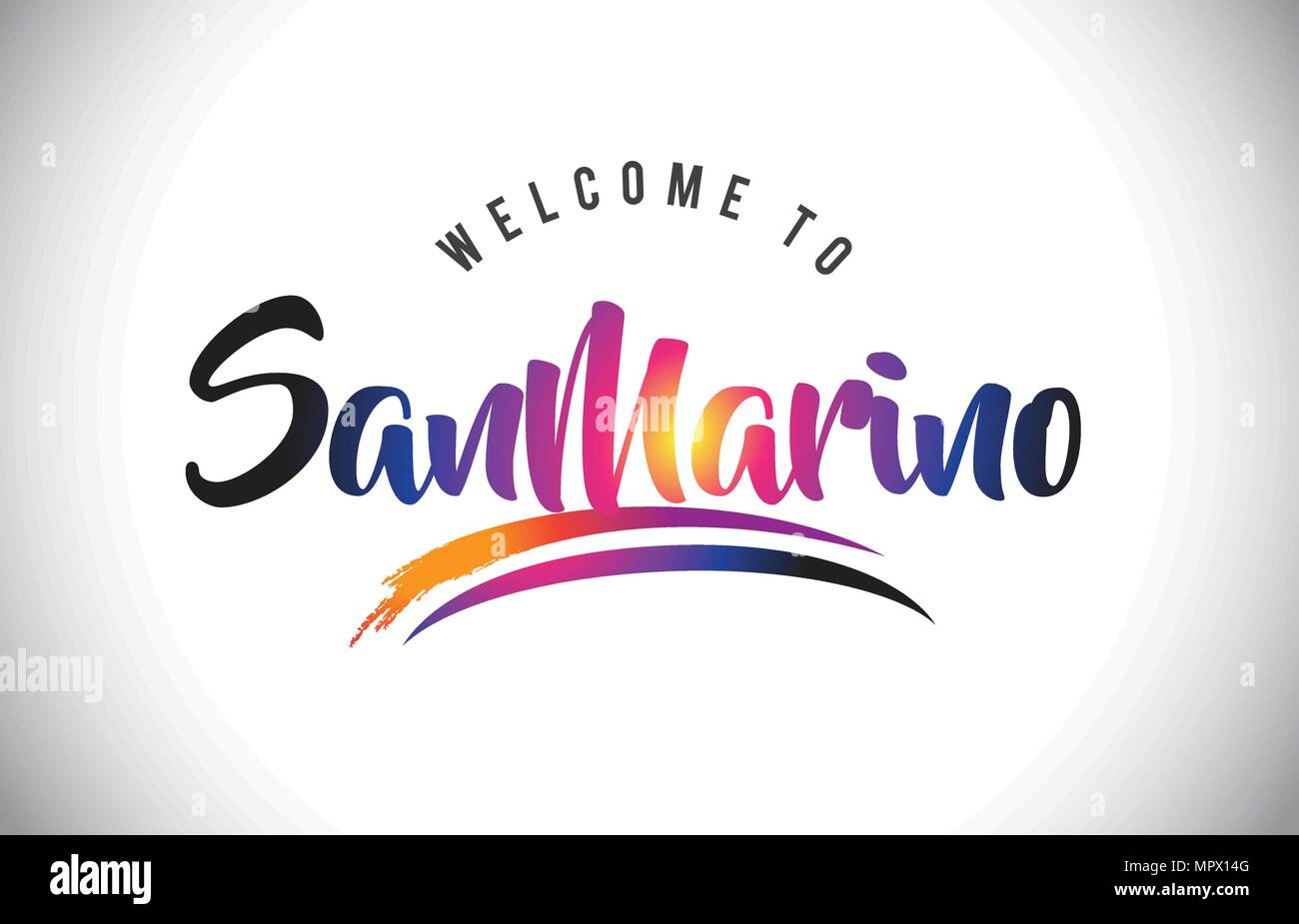 SanMarino Welcome To Message in Purple Vibrant Modern Colors Vector Illustration. - Stock Image