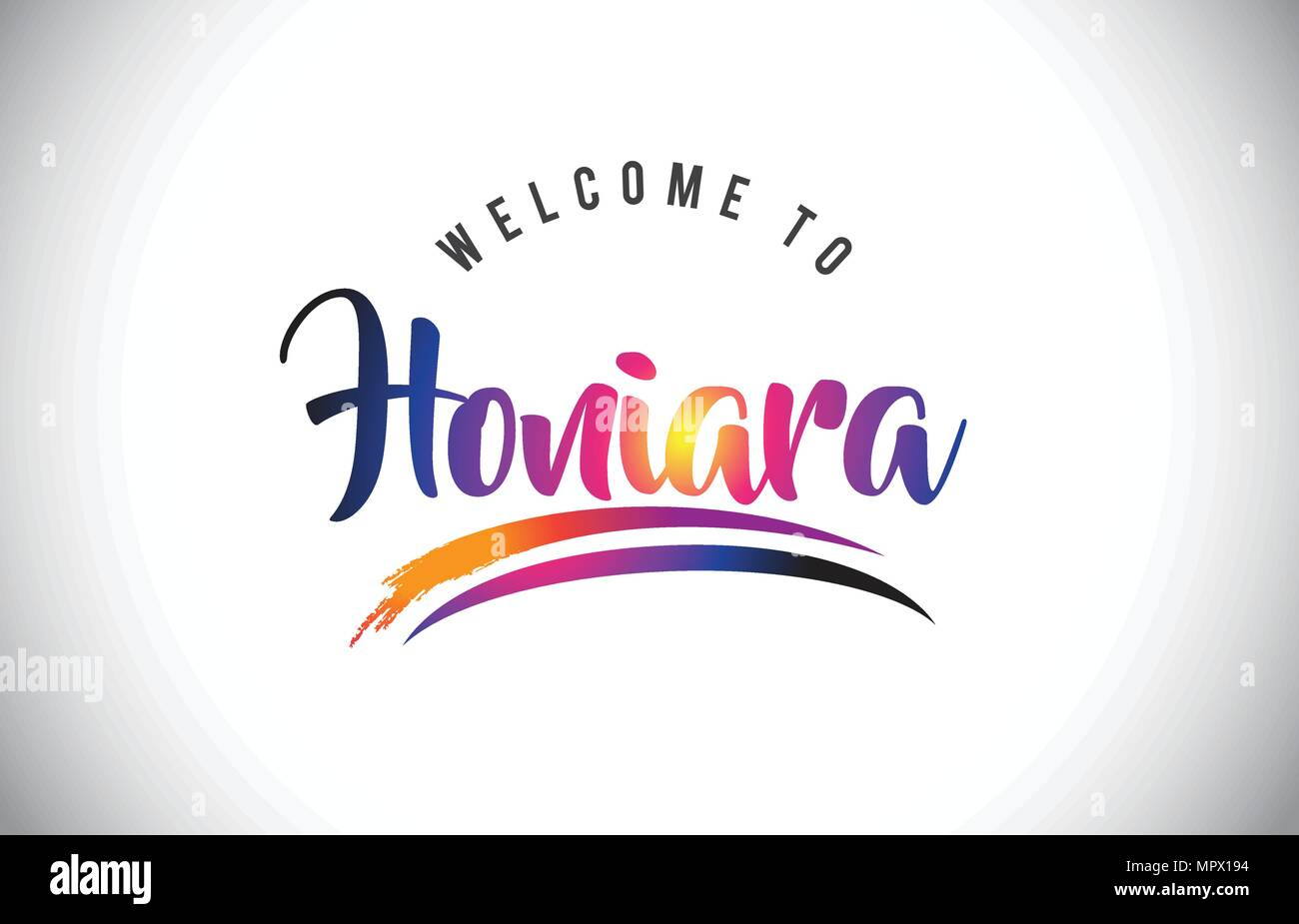 Honiara Welcome To Message in Purple Vibrant Modern Colors Vector Illustration. - Stock Image
