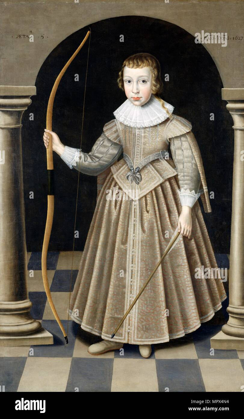 A boy of the Howard Family, 1627. Artist: Robert Peake. - Stock Image