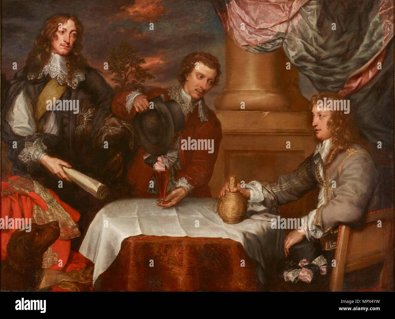 Portrait of Prince Rupert, Colonel William Legge and Colonel John Russell, 1645-1646. Artist: William Dobson. - Stock Image