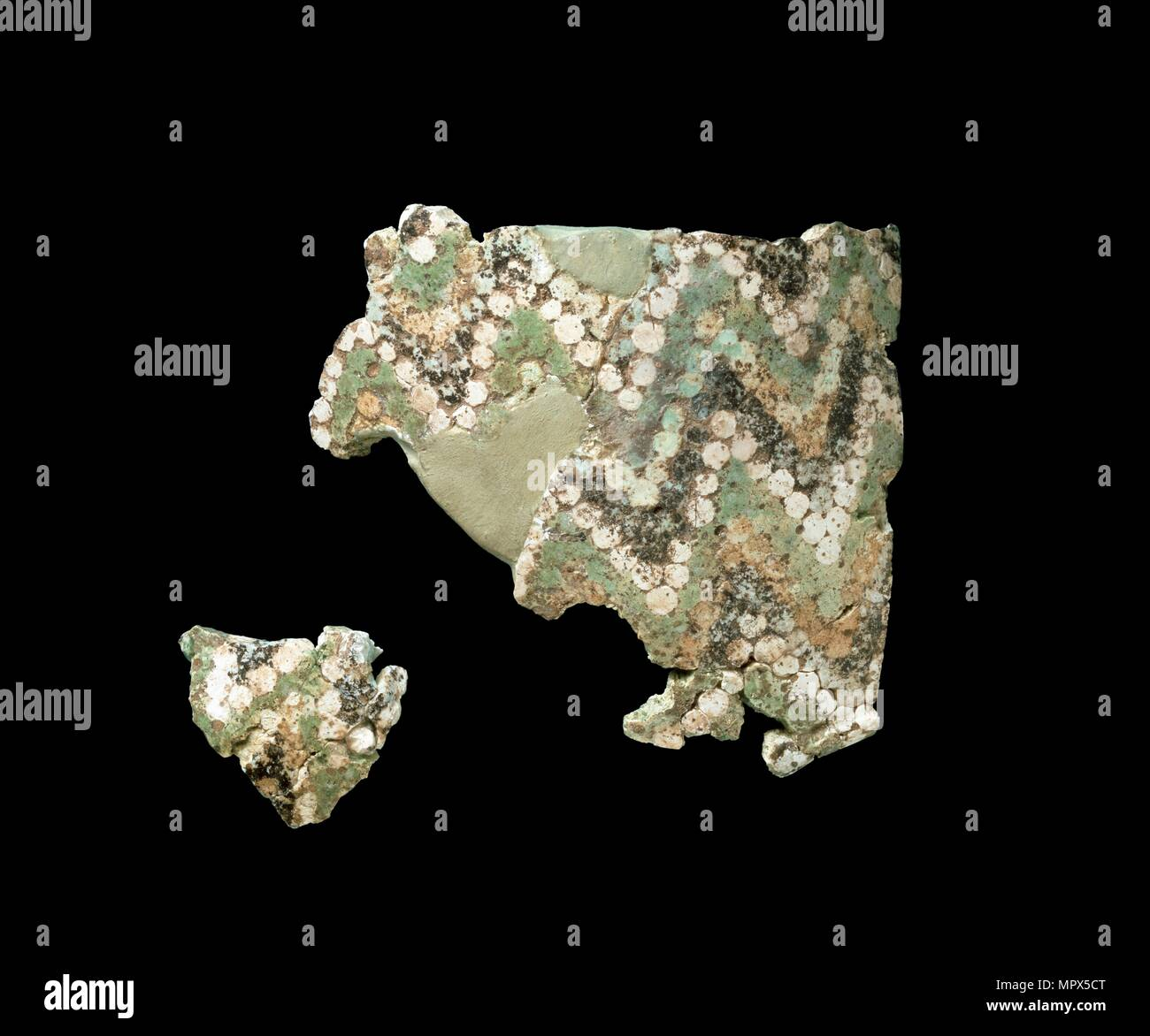 Two fragments of mosaic glass, yelllow, green, black & white, c1500-1300BC. Artist: Unknown. - Stock Image