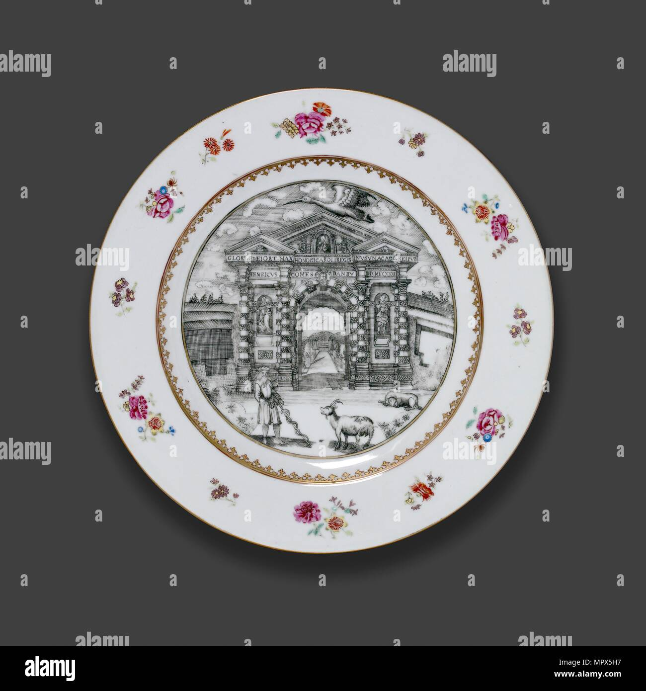 Oxford plate, c1755. Artist: Michael Burghers. - Stock Image