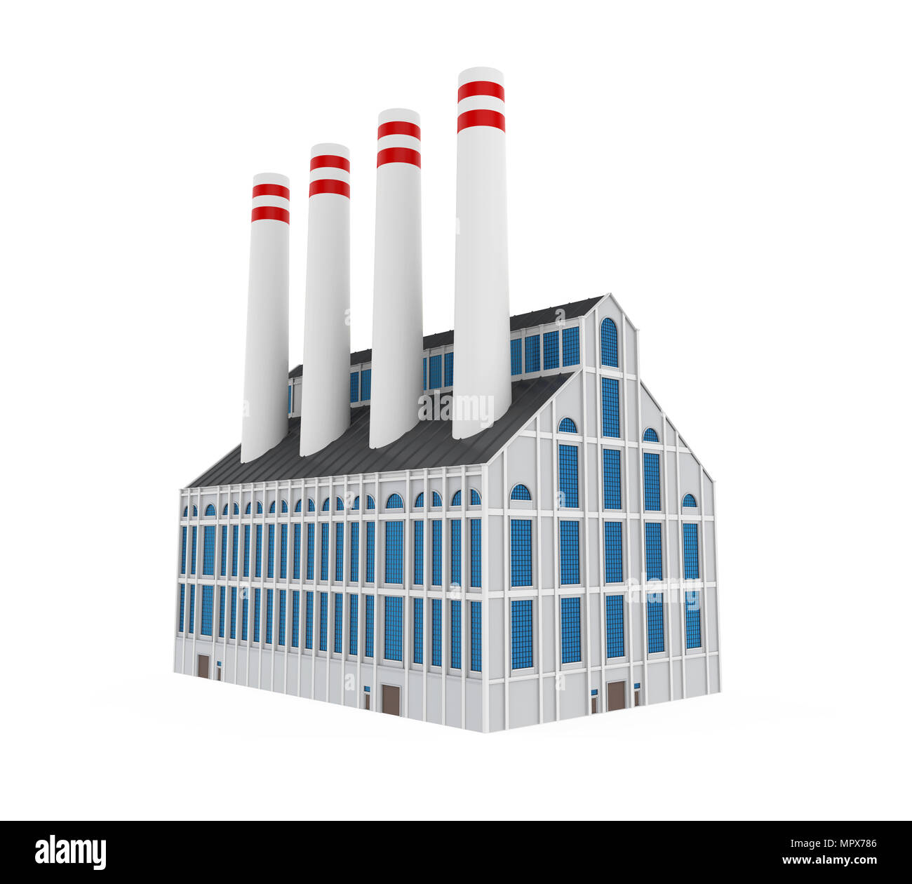 Industrial Factory Building Isolated - Stock Image