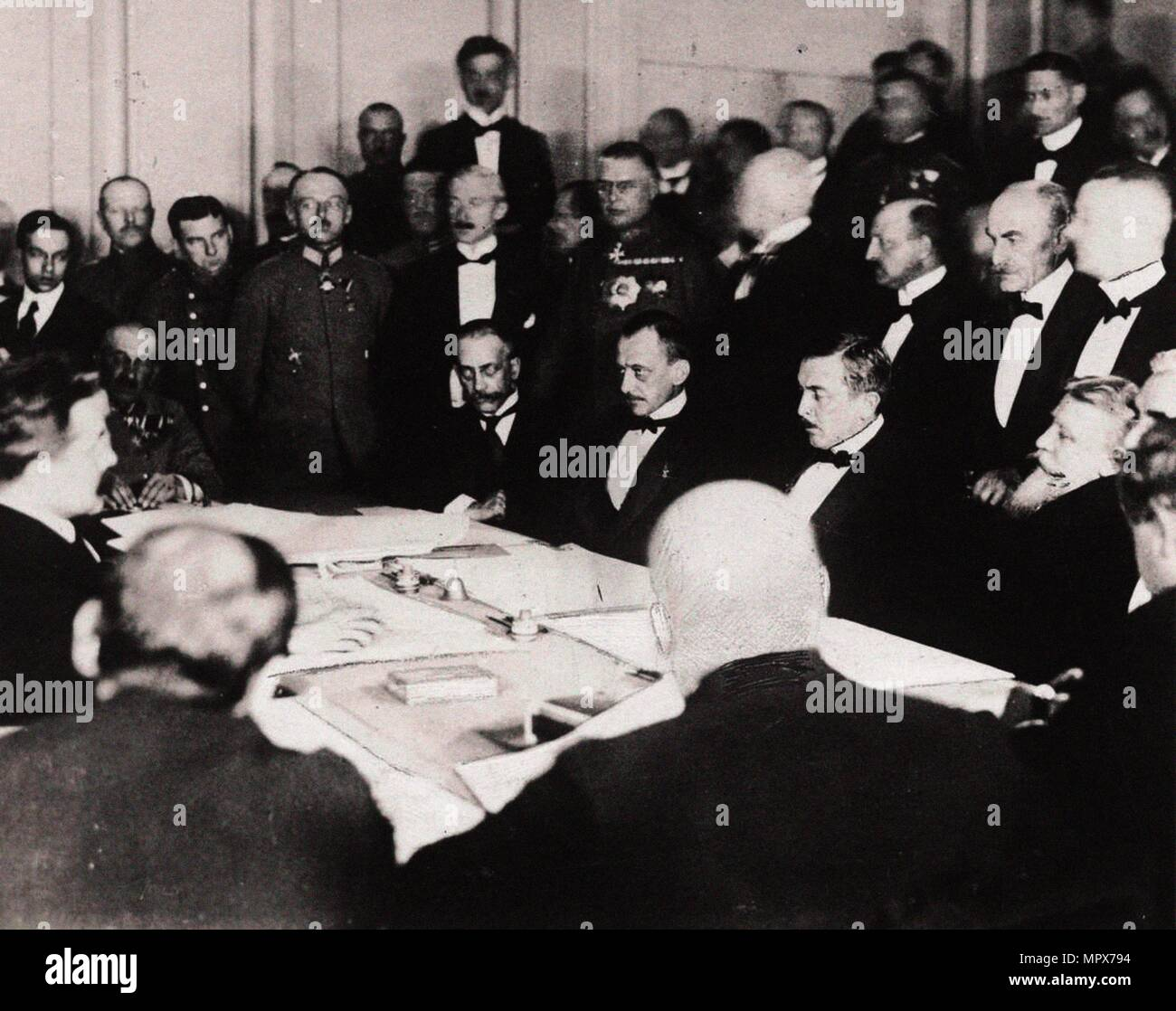 The signing of the Treaty of Brest-Litovsk in the fortress of Brest-Litovsk, March 3, 1918, 1918. - Stock Image