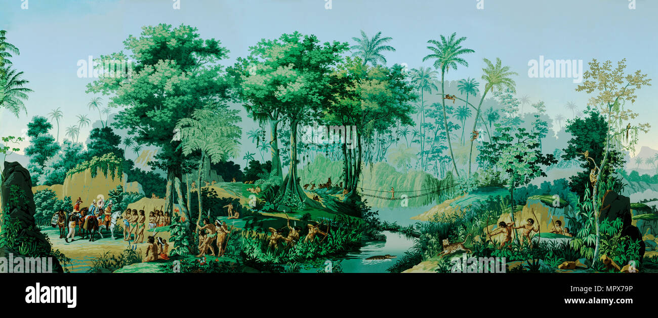 The Views of Brazil. Panoramic wallpaper (detail), c. 1830. - Stock Image