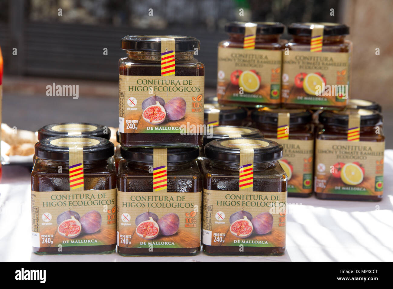 Ecological marmalade of figs food products, Mallorca Spain Stock Photo