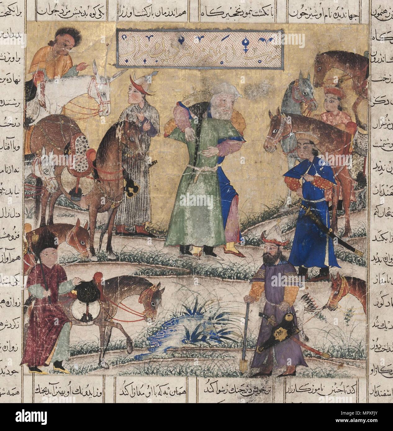 Bahman meets Zal. From the Shahnama (Book of Kings), 1335-1340. - Stock Image