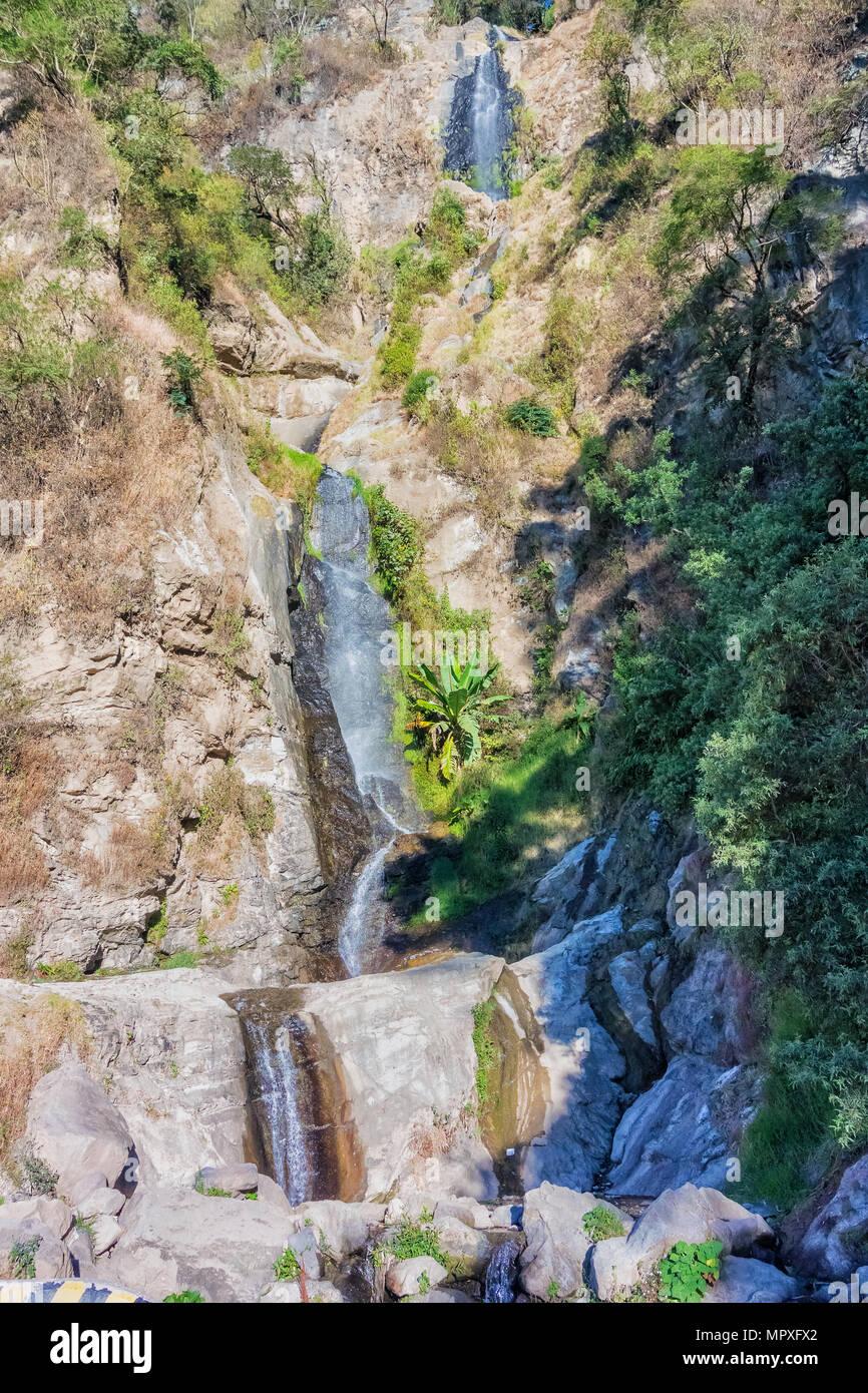 Waterfalls between Solola and Panajachel in the highlands of Guatemala. - Stock Image