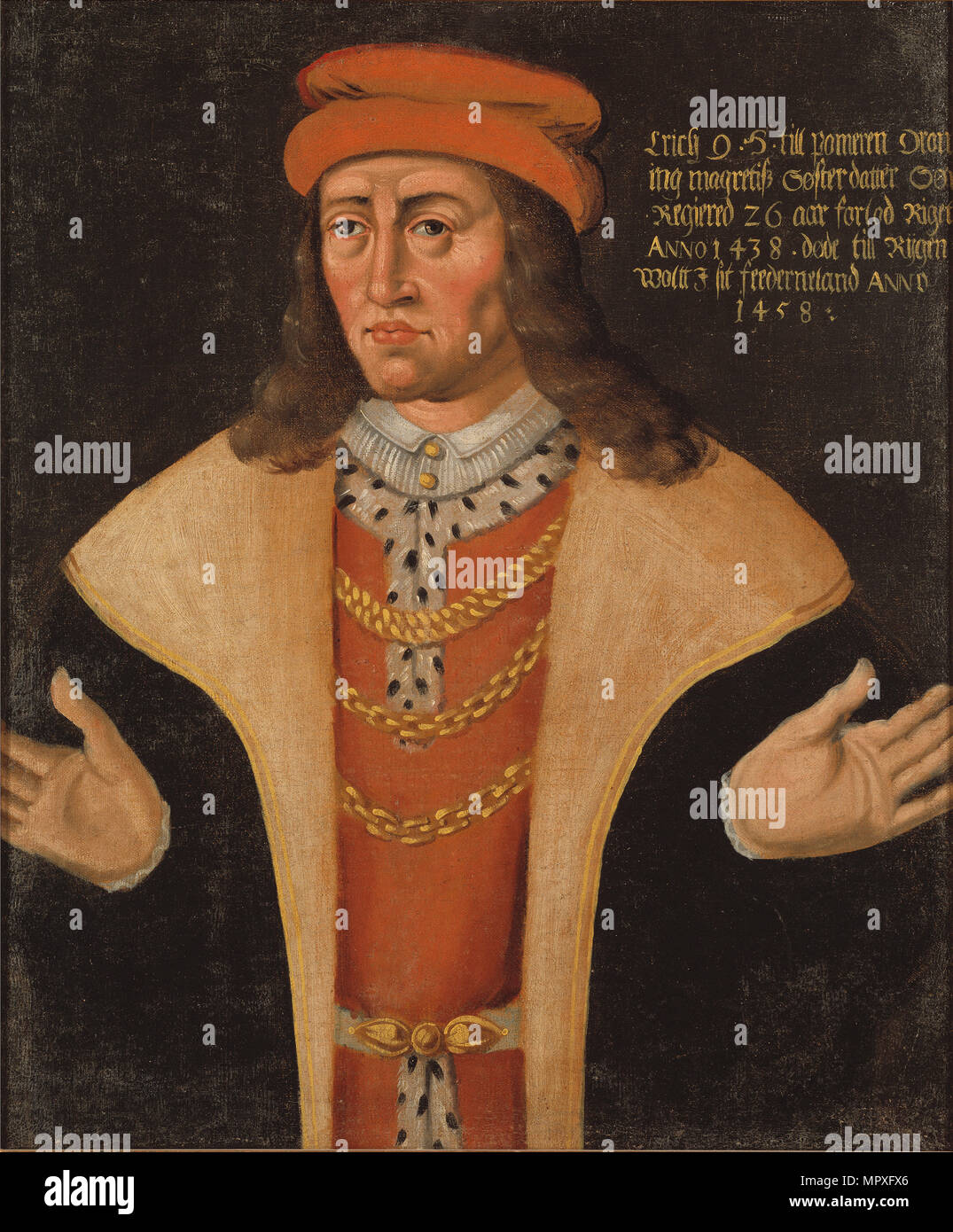 Portrait of Eric of Pomerania (1382-1459), King of Denmark, Norway and Sweden. - Stock Image