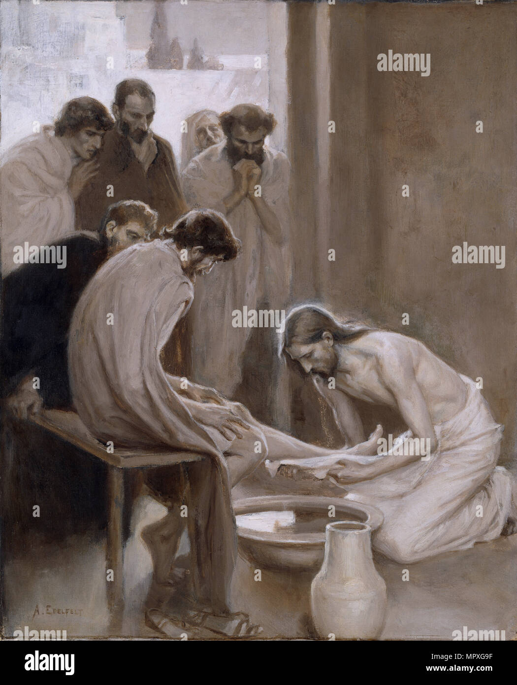 Christ washing the Feet of the Disciples, 1898. Stock Photo