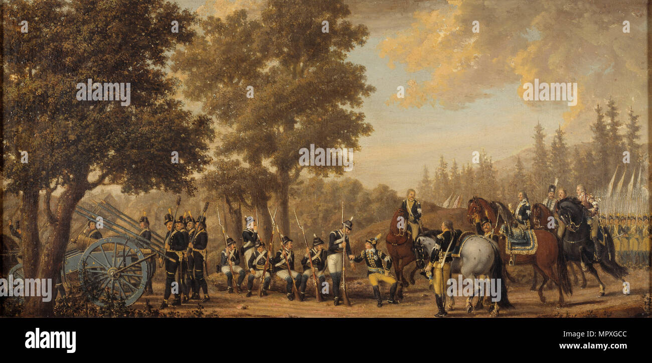 King Gustav III of Sweden in the Russo-Swedish War, 1789. - Stock Image